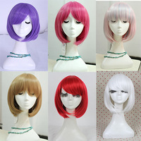 Free Shipping Fashion 10 Colors Heat Resistant Harajuku Women Synthetic Short Pink Green White Red Purple Blonde Bobo Bob Wig