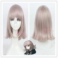 Free Shipping Danganronpa Dangan-Ronpa 2 Anime Synthetic Hair Women Light Purple Bob Short Cosplay Wig