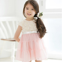Girls Kids Roses Tops One Piece Dress Tutu Short Sleeves Costume 2-7Y Free shipping & Drop shipping XL204