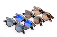 Free Shipping 2013 New Vintage Retro Steampunk Mens/Womens Sunglasses Costume Round Circle Flip Up Clear Lens Glasses  #5012
