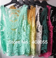 2013 Autumn new arrival Sheer embroidery crochet lace floral blouse Vest Tank Tops Tee Shirt for women drop shipping