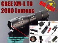 AUTHENTIC GUARANTEE E17 CREE XM-L T6 LED 2000Lm led flashlight Torch light lamp led+1x18650 Battery charger/car charger/ holster