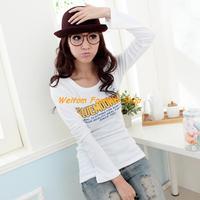 2013 hot sell Korean version new autumn female T shirt slim long-sleeved cotton t-shirt for women free shipping