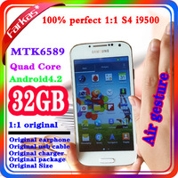 Free Shipping Perfect 1:1 Original  1920*1080 12.8MP 32GB MTK6589 S4 Quad Core Android 4.2.2 Smart i9500 Phone