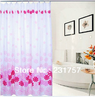 Free Shipping High Quality Polyester Peach Blossom Shower Curtain Bathroom Thickening Curtain W/ 12 Hooks 180x180cm,180x200cm