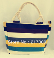 Wholesale colorful striped canvas bag large capacity fashion casual shoulder bag women handbag bag