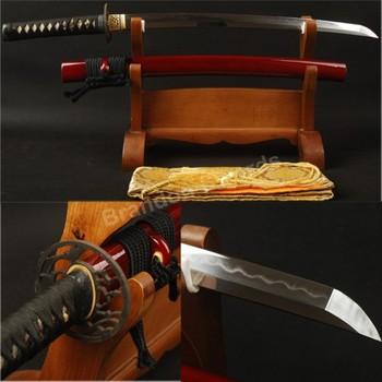 Sharp Blade Folded Steel Clay Tempered Samurai Sword Warrior Wakizashi Red Sheath Saya Iron Stuba Battle Ready