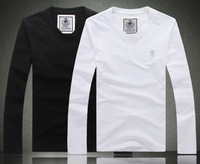 Special offer Wholesale Quality Luxury Men Sports T Shirt Long Sleeve Cotton Coat Pullover Black and White  The embroidery