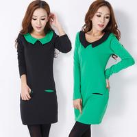 New 2014 Peter pan Collar Spring Autumn One-piece Dress Long-sleeve Slim Sweet Winter Dress Fashion Casual Women's clothes/M-XL