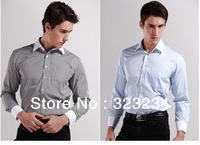 2013 Business Casual Men's Long Sleeve Dress-Shirt Male Stripe Non-Blue Get Man White-Collar Shirt