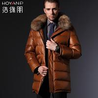 2013 Brand Hoyanp HA53628 Male Medium-long Down Coat Male Hooded Fur Collar Thickening Men's Winter Down Coat