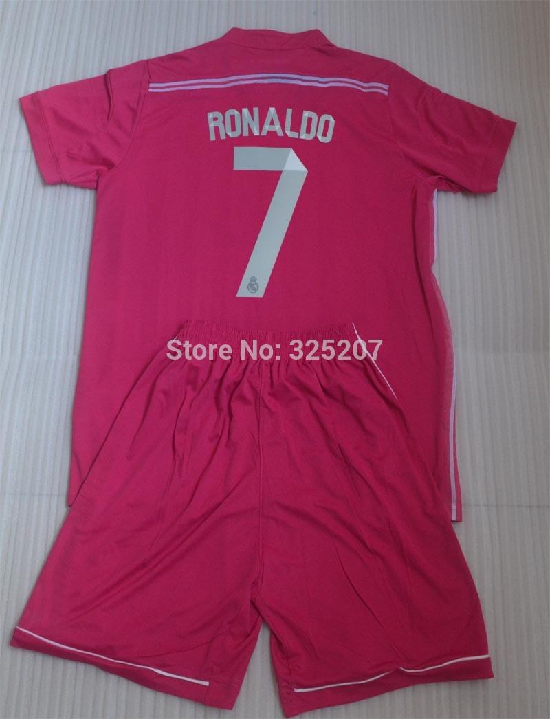 2014 2015 Youth boy kids soccer jerseys kit Real Madrid Away pink kids football uniforms RONALDO baby suits + can custom names(China (Mainland))