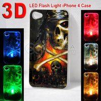 3D Design LED Color Changed Sense Flash light Case Cover for apple iPhone 4 4S