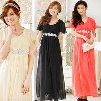 2014 Summer New Korean High Waist Lotus Sleeve Chiffon Evening  Dress Red Toast Long Dress Plus Size Pregnant Women Dress