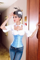 DEAR LOVER High Quality Blue Floral Print Waist Cincher UnderbustCorset Hook Front Lace Up Back Bridal Slimmer Body Shaper S-XXL