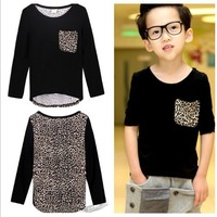 Fashion Long sleeve Cotton t shirt boy children baby t-shirts Pocket Patchwork Leopard clothing 100-140cm wear 613092
