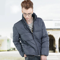 New 2013 Winter Men's Short Thickening Cotton-Padded Coat Jacket Outerwear, Stand Collar, Grayish Blue and Green, Free Shipping