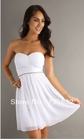 2013 New Style Cheap Formal  A-Line Sweetheart Beaded white Chiffon Mini junior Free Shipping  Homecoming Party Dresses A228