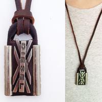 (Min order $10USD)Men Woman Cool Punk Leather Lock Pendant Genuine Leather Necklace Chocker