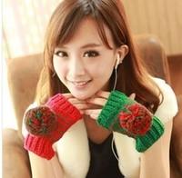 Free shipping Autumn and Winter Imitation Women Wool Fingerless Gloves Half-finger Gloves Knitted Mittens Lengthen