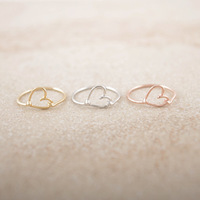 Simulated Heart Around Finger Rings 18K Gold Plated jewellery