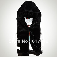 Autumn and winter male kaross vest all-match faux wool vest with a hood outerwear Men trend