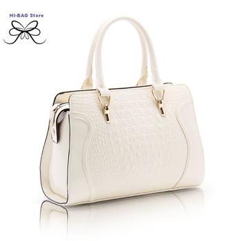 2014  fashion  crocodile pattern  smiley women's handbag high quality patent leather shoulder bags brand designer messenger bag