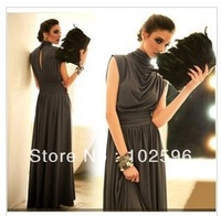 Free shipping,2013 New Fashion Women's Folds Party Long Floor-length  Dress,Black/Gray/Red,Wholesale/Retail