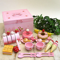 Free Shipping!Wooden Toys Mother garden Wild Strawberry Series Sweet Cafe Set Pink Bowknot Box Ice Cream Play House Wooden Toys