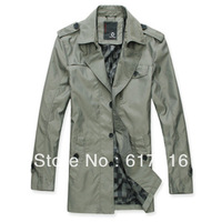 Autumn new arrival trench male fashion medium-long straight men's trench spring and autumn outerwear plus size male trench
