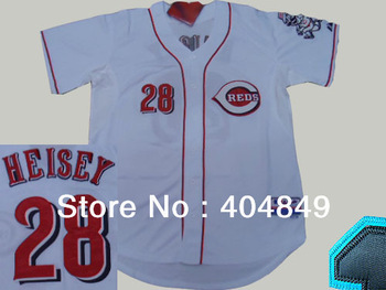 AA+ 28 multiple Chris Heisey jersey, reds new home white gray red authentic,women men custom baseball free shipping