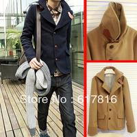 Plus size outerwear lovers male slim woolen outerwear male woolen trench male short trench design