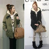 New 2014 Women Long Sleeve Thicken Fleece Hooded Parka Zipper Overcoat Winter Coat Jacket Plus Size S M L XL Free Shipping 0098