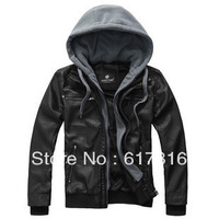 2013 trend autumn with a hood thickening male slim leather clothing outerwear men's clothing motorcycle leather jacket male