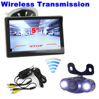 5 inch TFT LCD Car Monitor Wireless + LED Night Vision Rear View Camera Parking System 2CH Video Input