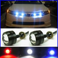 Red/blue/green/yellow/white bolt-on Car LED Daytime Running Light Eagle Eye Reversing Parking Signal Spotlight Lamp 3W SUV Motor