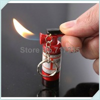 Free Shipping 30pcs/lot Mini Fire Extinguisher Lighter KeyChain Butane Lighters With Key Ring (Without Gas)