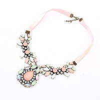 Promotion Luxury Retro Style  White Gem Choker Necklaces 2014 With  Pink Ribbon Chain  Drop Ship