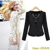 2013 nova moda curto mulheres outwear outono verao renda plus size um botao do sexo feminino casacos blazer xl