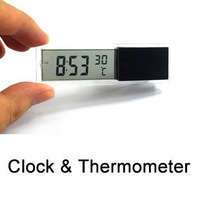 Transparent Car LCD Clock Time + Thermometer Fashion Moitor Stick Easily On Windscreen Free Shipping
