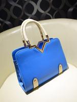V-shaped handbag fashion shoulder messenger bag autumn new models solid temperament female bag rivets PU 3 colors -free shipping