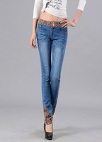 Female print wearing retro finishing hole butt-lifting pencil Sky blue jeans roll up hem applique Free shipping