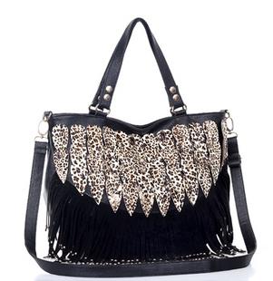 A011#The new 2013 women messenger bag rivets bag leather handbags peacock tail leopard grain decoration tassel bag