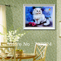 free shipping high quality 100% accurate printed cross stitch sets 3D print cross stitch kit pattern cat sweet kitten unfinished