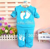 100% cotton autumn  set baby clothes 0 - 2 year long sleev long cartoon Baby Foot set . free shipping