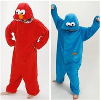 Adult Cookie Monster Red/Blue Elmo Onesie Costume Romper Pajamas Pyjamas for Cosplay Sleepwear