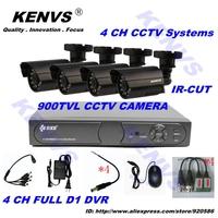 4CH CCTV Security Camera System 900TVL  4CH D1 DVR 900TVL Outdoor Day Night IR Camera DIY Kit Color Video Surveillance System