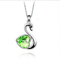 (Min order $10 mix) Fashion 18K white gold plated austrian crystal accessories swan women Pendants necklace multicolor