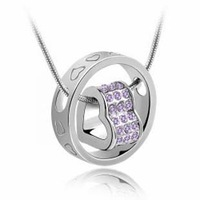 (Min order $10 mix) Fashion 18K white gold plated austrian crystal fortunes women Pendants necklace