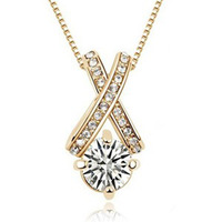 Fashion 18K gold plated austrian crystal arrows zirconium women Pendants necklace